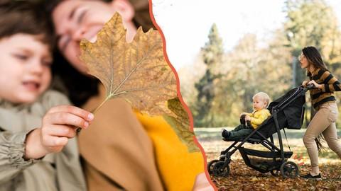 Collage links: Frau liegt mit Kind im Lauf; rechts: Frau joggt mit Kinderwagen