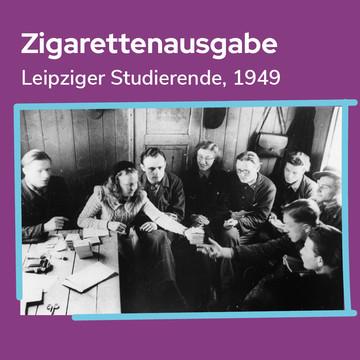 Zigarettenausgabe unter Studierenden in den 1940ern